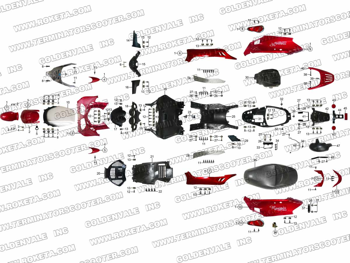 Roketa 250 Scooter Wiring Diagram Simple Electrical Boreem Mc54 Terminator Covering Parts Assembly4
