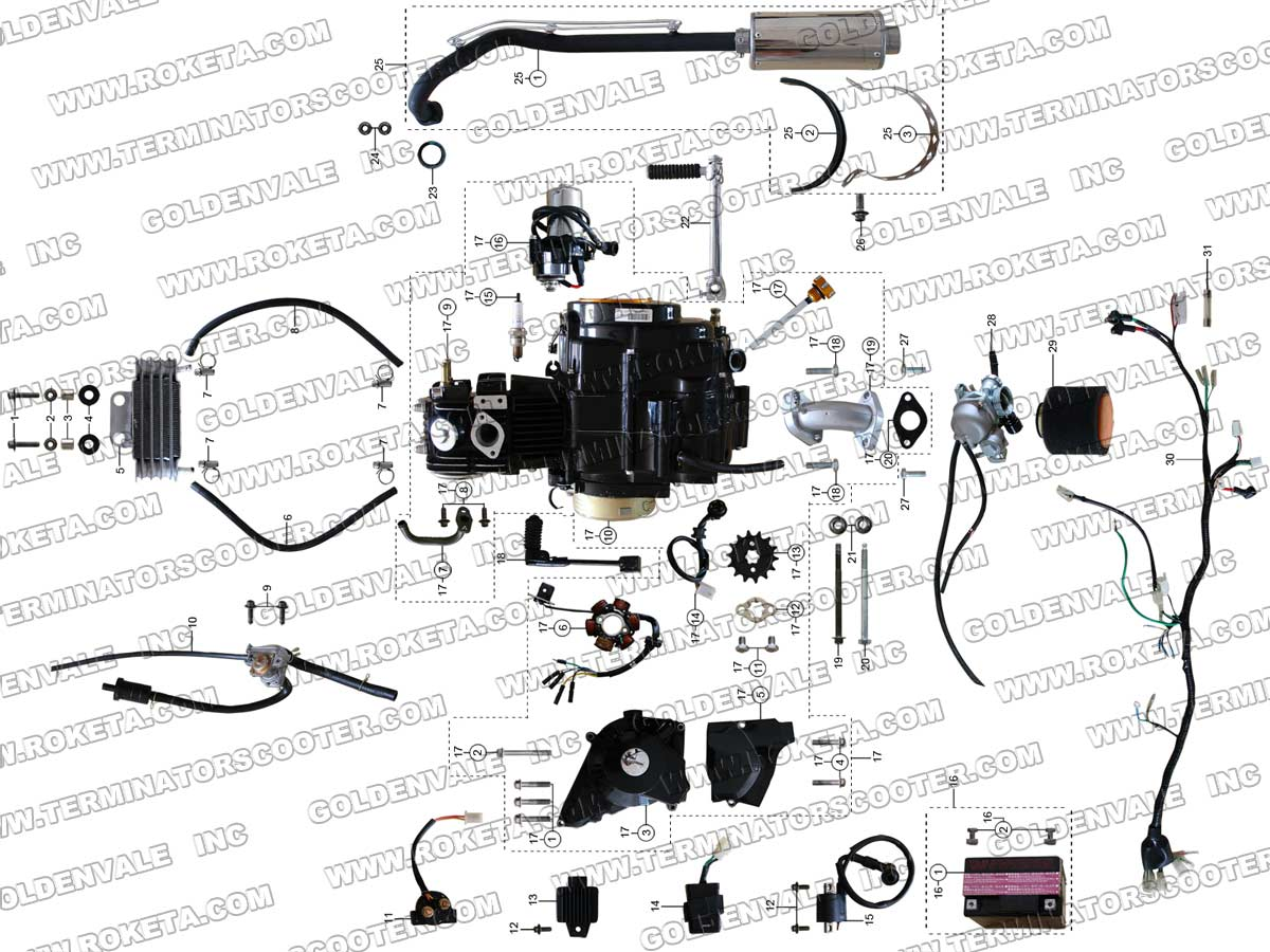 Roketa 49cc Wiring Diagram Manual Of Bicycle Engine Pocket Bike Wire Harness Furthermore