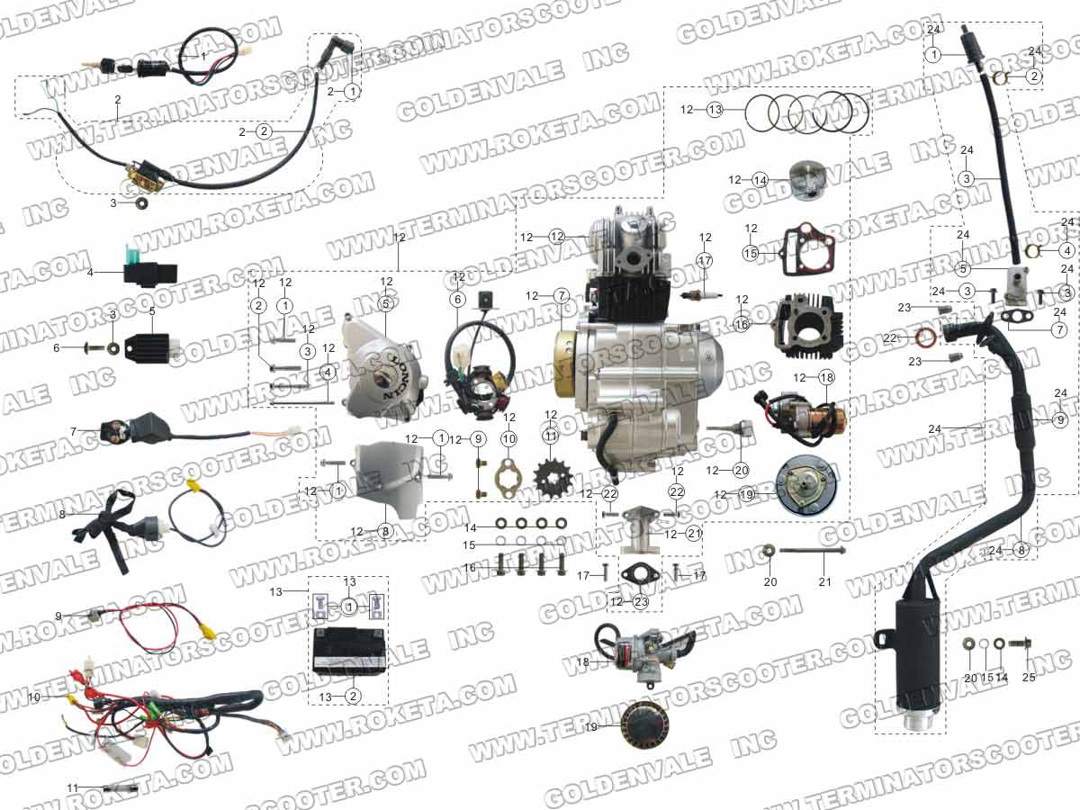 Electric start wiring diagram cc motorcycle