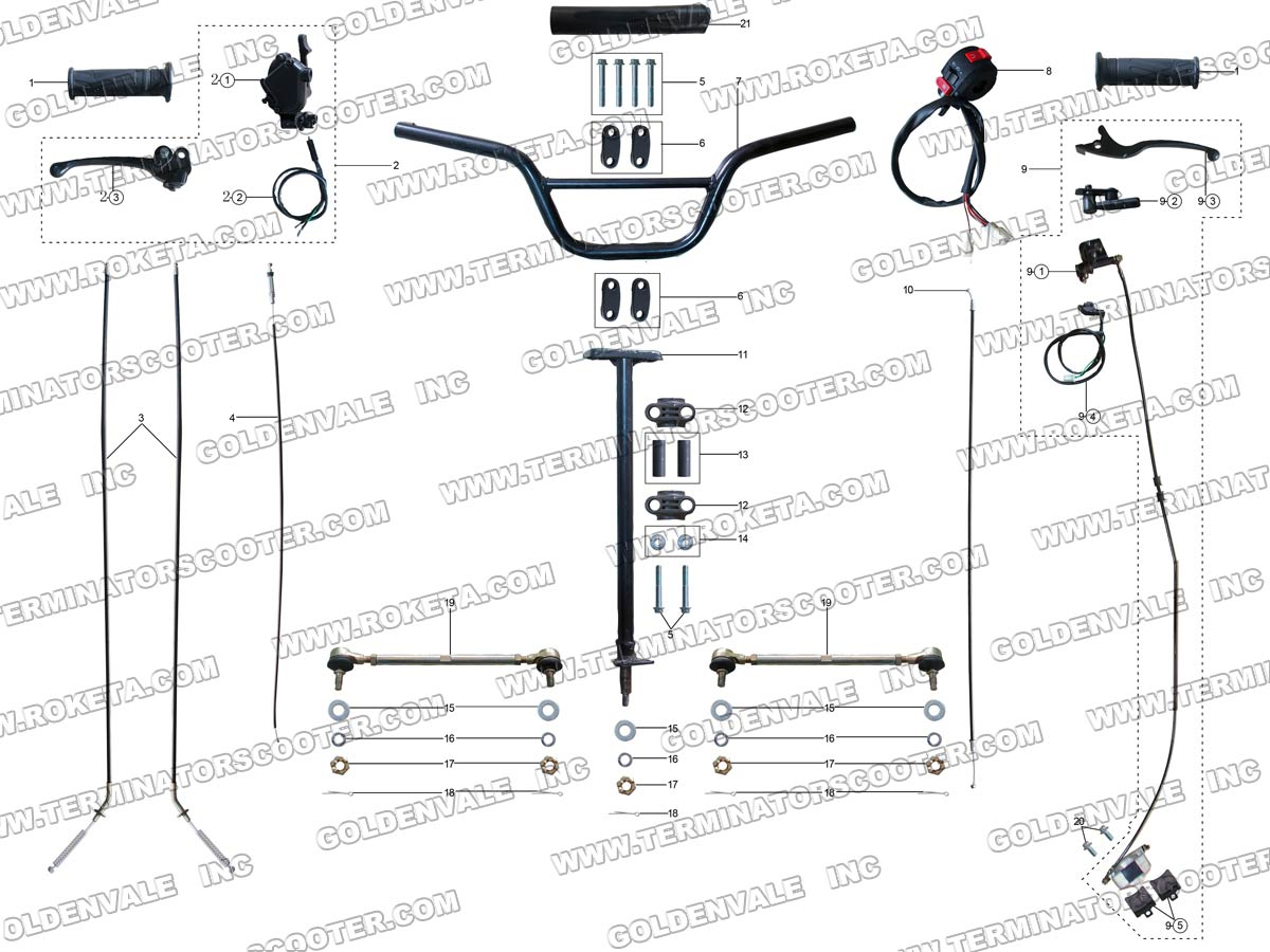 Honda Gy6 150cc Atv Engine Diagram besides Adly Atv 90cc 2t Exhaust further JCL MG250B Sellparts furthermore Cable Clutch together with Parts For 150cc Baja Go Karts. on 90cc go kart parts